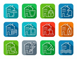 Security of housing and office buildings, icons, contour, colored. Safety of living and working space. White vector, line icons on color background with a shadow.