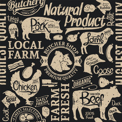 Retro styled typographic vector butchery seamless pattern
