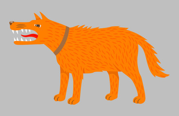 Angry ginger dog. Vector on grey. Agressive dog with sharp teeth