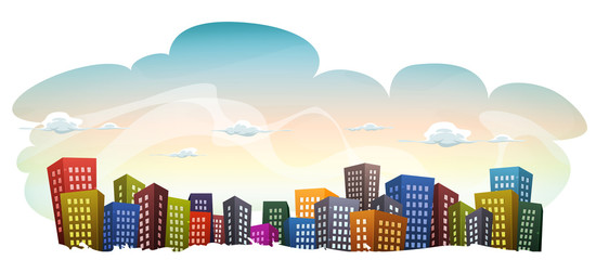 Cityscape With Buildings On Sky Background