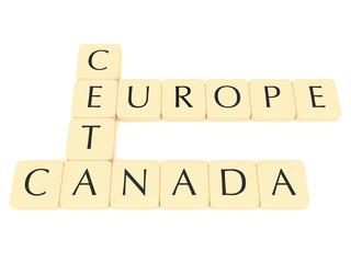 Letter Tiles: CETA, Europe, Canada, 3d illustration