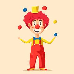Happy circus clown. Cartoon vector illustration