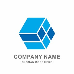Geometric Hexagon Cube Vector Logo Design Template