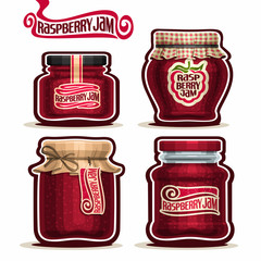 Vector logo Raspberry Jam in glass Jars with paper cover, red Pot home made raspberry jams, twine rope bow, homemade fruit jam jar, berry jelly pot with label, checkered cloth cap, isolated on white.