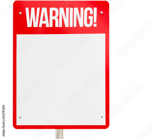 """""""Red Blank Warning sign isolated on white"""" Stock photo and ..."""