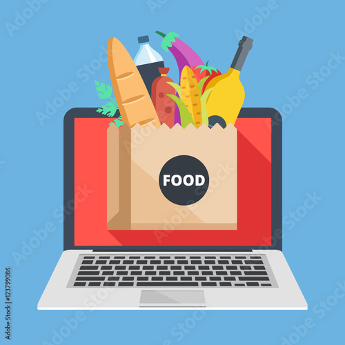 Laptop And Paper Bag With Food Buy Groceries Online