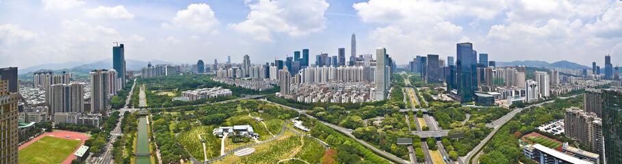 Aerial photography of City viaduct bridge road with landmark bui