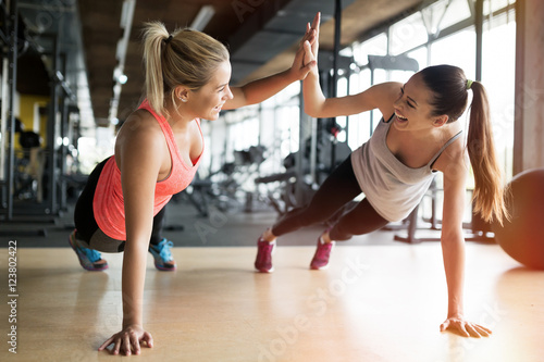 Beautiful women working out in gym