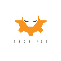 fox head and gear vector design template