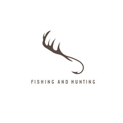 fishing and hunting illustration with deer horns and fishing hoo