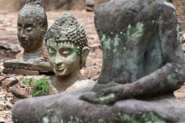Buddha statue long history thai temple, travel in Thailand, Wat