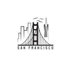 san francisco skyline vector design template illustration