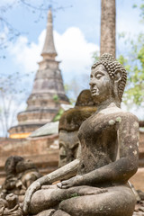 Buddha statue long history thai temple, travel in Thailand, Wat