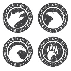vintage grunge labels with animals and birds negative space conc