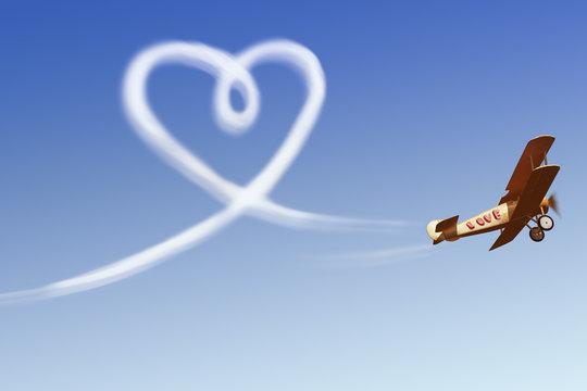 Love simbol in the sky