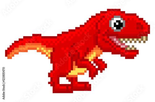 Pixel Art T Rex Cartoon Dinosaur