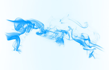 Blue smoke on the white background.