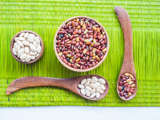 mixed pulses, Mixed beans and lentils on green background