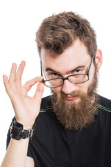 Bearded man in glasses. Hold on to the rim. On white, isolated background.