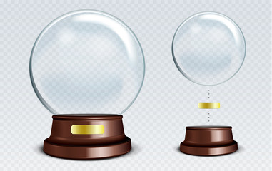 Vector Empty Snow Globe. White transparent glass sphere on a sta