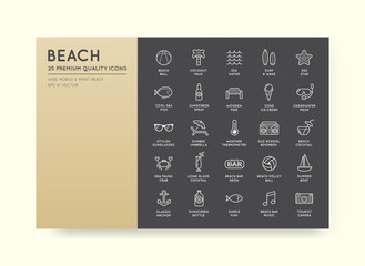 Set of Vector Beach Sea Bar Elements and Summer can be used as L