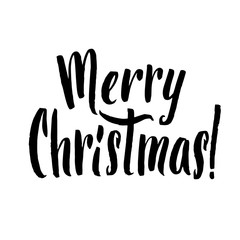 Merry Christmas Calligraphy. Greeting Card Black Typography on White Background