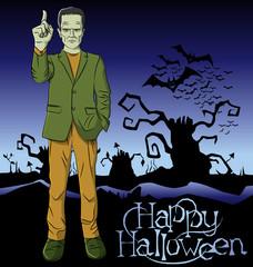 Vector Cartoon Frankenstein Halloween