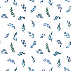 seamless pattern with blue watercolor leaves