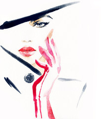 Elegant lady with hat. Fashion watercolor illustration