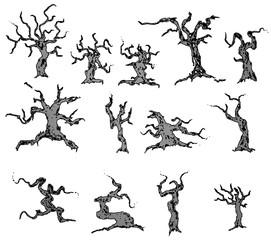 Haunted Halloween Cartoon Illustration Trees