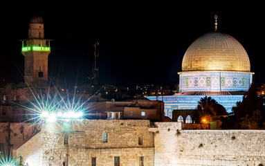 panoramic view with dome of the rock in historical center of jerusalem by night