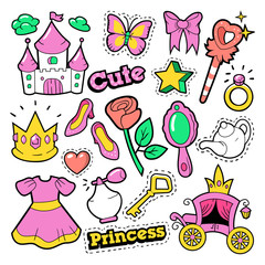 Girl Princess Badges, Patches, Stickers - Crown, Castle, Heart, Ring in Pop Art Comic Style. Vector illustration