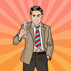 Pop Art Businessman with Champagne Glass on Holiday Celebration Party. Vector illustration