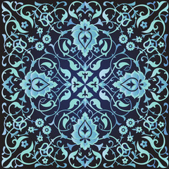 Arabic floral ornament in blue