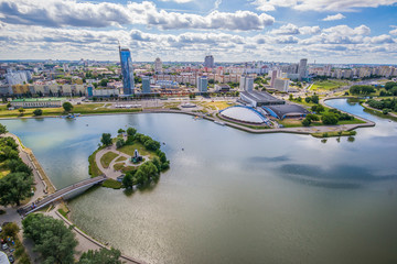 Fototapete - Aerial view, cityscape of Minsk, Belarus. Summer season, sunset time. Nyamiha, Nemiga district