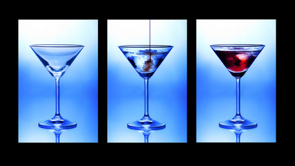 Cocktail triptych. Three glasses showing stages of pouring a cocktail. Wall mural