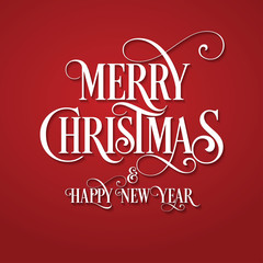Merry Christmas. Card. Happy New Year. Red Background. C