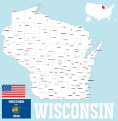 A large and detailed mpa of the State of Wisoncin with all counties and county seats