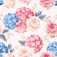 Seamless rose and hydrangea