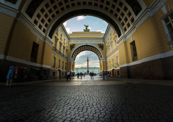 Winter Palace and Alexander Column through the Arch of General S