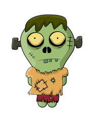 cute zombie, halloween frankenstein vector symbol icon design.