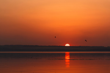 Beautiful blazing sunset landscape at the river Dnipro and orang