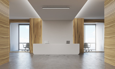 Two meeting rooms and reception desk