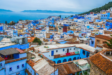 Fotorolgordijn Marokko A view of the blue city of Chefchaouen in the Rif mountains, Morocco