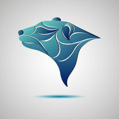 Bear head profile logo. Stock vector illustration.