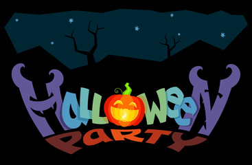 Halloween Party lettering. Original concept of revived funny angry letters and luminous jack-o'-lantern pumpkin on a black background. Useful to design events like Zombie Night or All Hallows Evening.