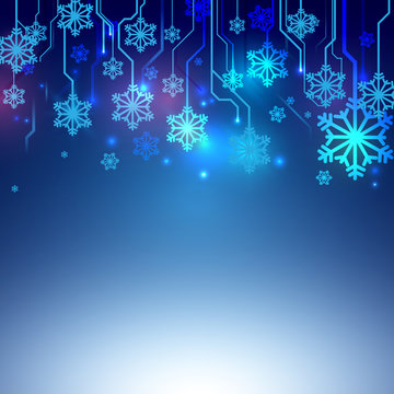 Circuit Blue lines with Snowflake Abstract Technology Background