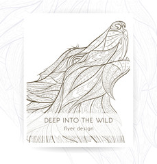Flyer template with patterned head of the howling wolf