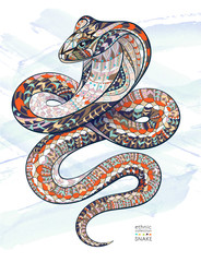Patterned snake cobra on the grunge background. African / indian / totem / tattoo design. It may be used for design of a t-shirt, bag, postcard, a poster and so on.