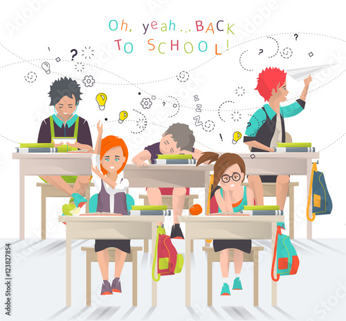 Modern Classroom Vector : Quot modern vector illustration back to school concept